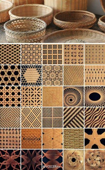 """立夏之竹工(下篇)  大多的竹编工艺只能手工编织完成,竹编的方法多种多样,基本可分为四边编法、六边编法、八边编法、弧形编法、网状编法、绳结编法等等,甚者有编织出文字、立体编织、混色编织法,若几种编法交织使用,更可用""""吾编无尽""""来形容。http://t.cn/zORNoVa - 堆糖 发现生活_收集美好_分享图片"""