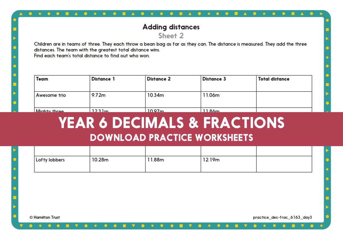 Year 6 Maths Decimals And Fractions Add Subtract Multiples