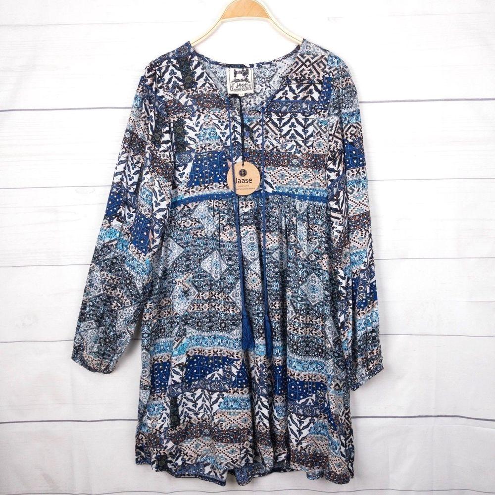 7a287724337 New Jaase Top XS (au S 8) Sahara Abby Blue Paisley Tunic Boho Gypsy ...