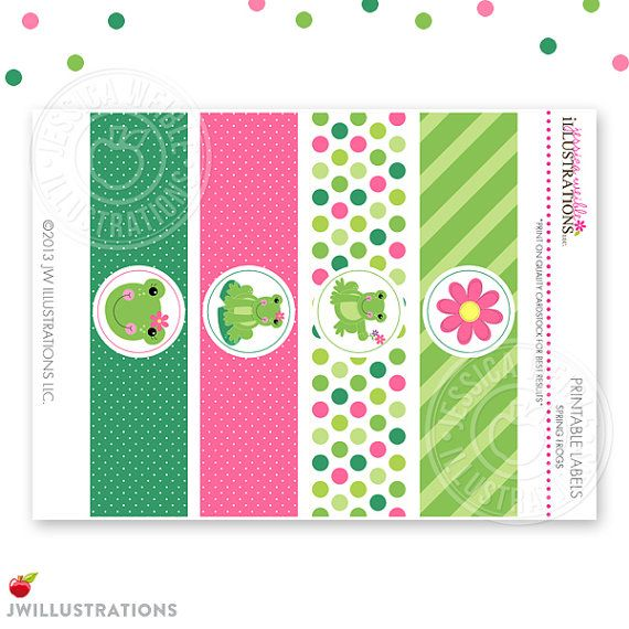 Spring Frogs Matching Printable Party Water por JWIllustrations
