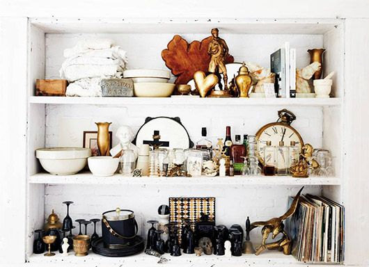 eclectic shelf decor in home of L.A. designer Leanne Ford. / sfgirlbybay