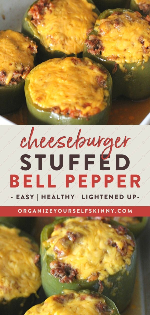 Cheeseburger Stuffed Bell Peppers | Easy Meal Prep