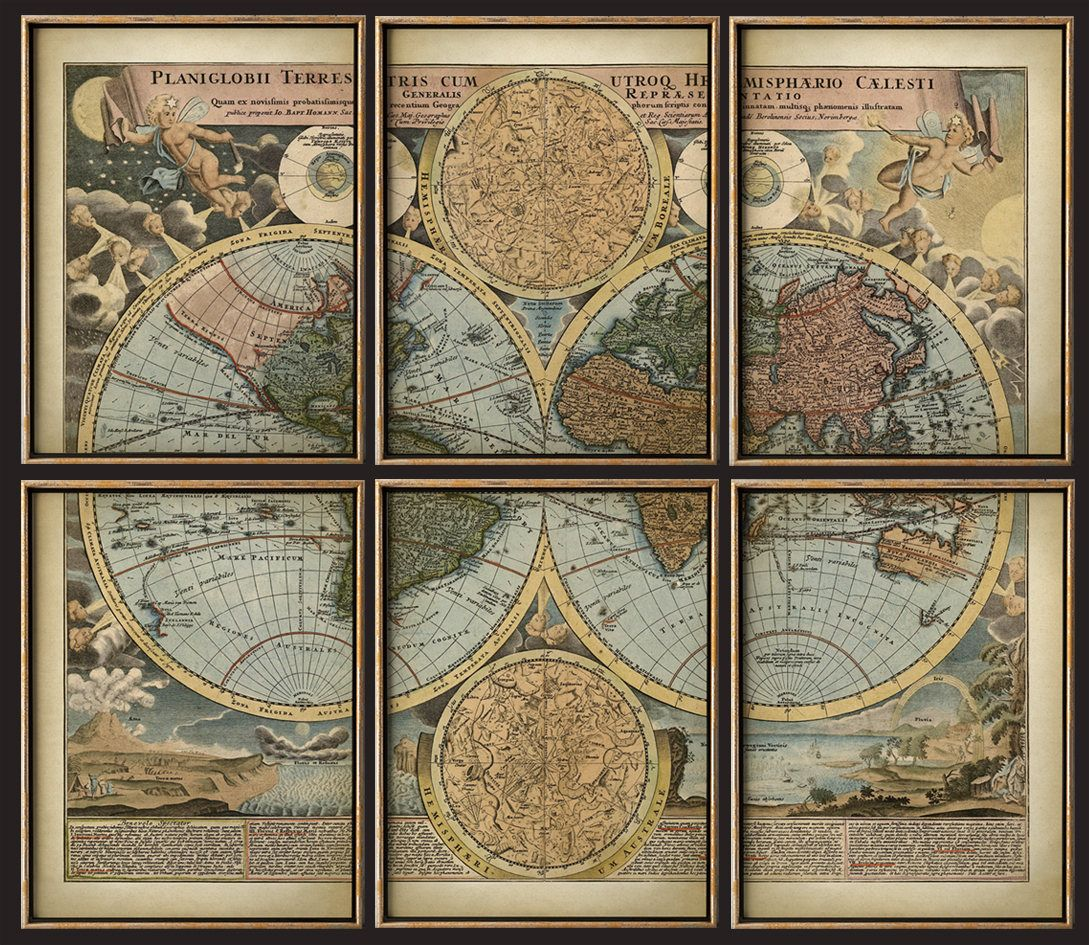 World map print set of 6 art prints antique style beautifully world map print set of 6 art prints antique style beautifully illustrated world map poster set wall art mosaic gumiabroncs Images