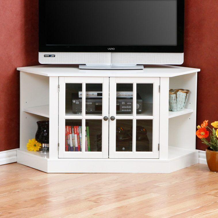 Modern White Corner Tv Stand With Media Storage Unit And Glass Doors Corner Entertainment Center Corner Tv Corner Media Stand