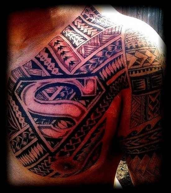 Superman Tattoo Idea Men Chest And Shoulder Negative Space Black Superman Tattoos Tribal Tattoos Samoan Tattoo
