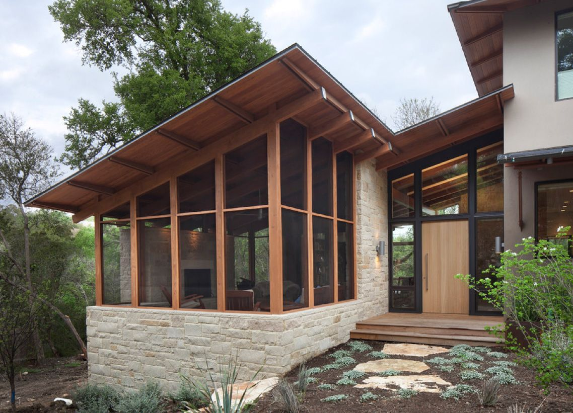 Angled Roof Screened Porch On Stone Base Unique