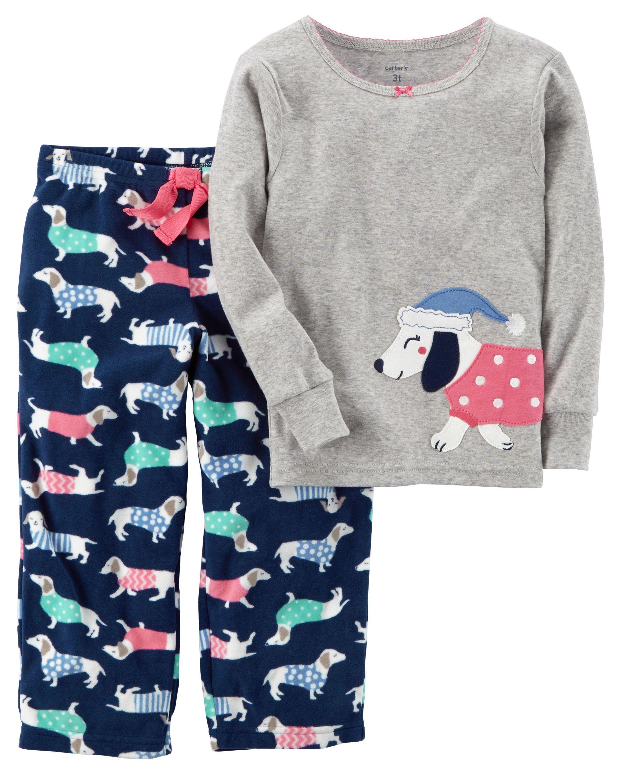 0f222933ce95 2-Piece Dog Cotton   Fleece PJs