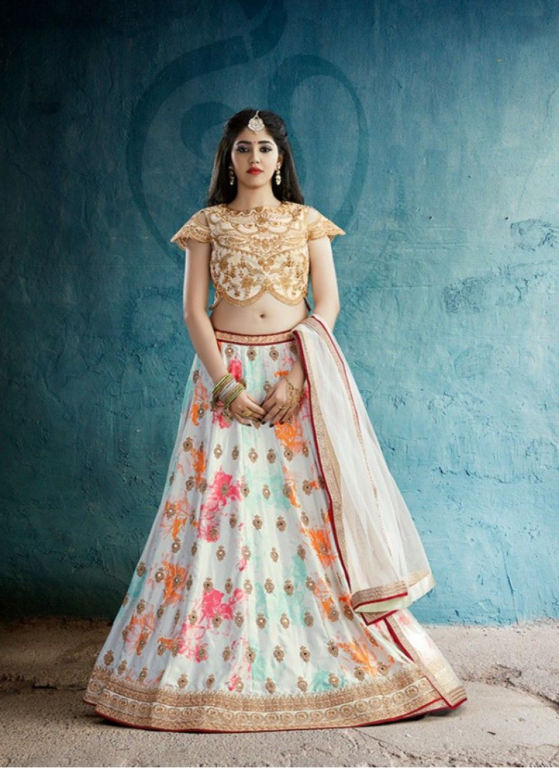 6286a428afb6a5 White digital printed dull crep designer lehenga with zari work in ...