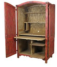 Superieur Painted Mexican Rustic Computer Armoire U2013 Red