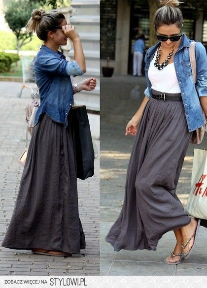 Szara długa spódnica + dżinsowa koszula | Skromne stroje