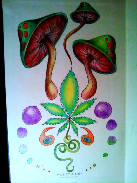 Gallery For > Trippy Marijuana Leaf Drawings | Just ...