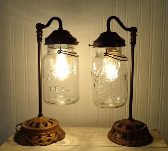 Mason Jar LAMP Table Nite Stand - ONE LAMP Listing