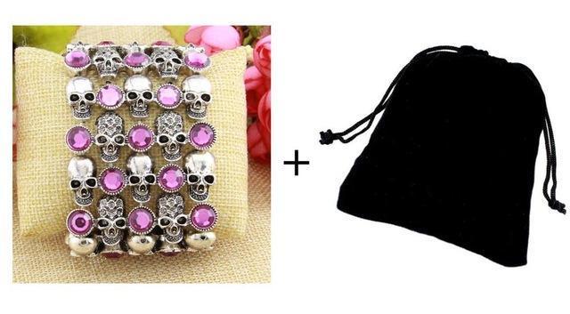 Cute Stainless Steel Crystal Skulls Bracelets For Women