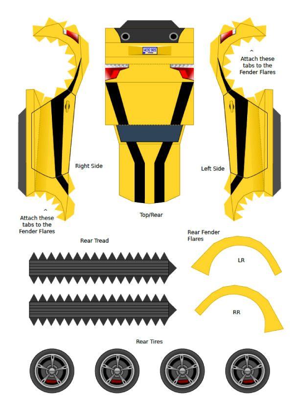 Blog Paper Toy Papercraft Bumblebee ProjectKITT Template Preview De