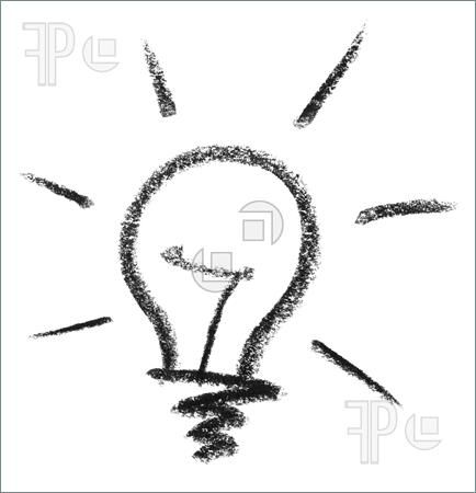 Illustration Of Crayon Painted Light Bulb In White Back