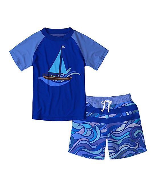 6a46b7e079 Blue Sailboat & Wave Rashguard & Swim Trunks - Toddler & Boys | Products