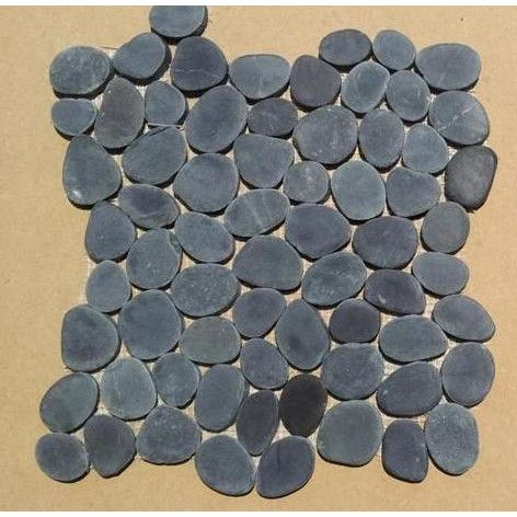 Mulia Tile Rocha Random Sized Natural Stone Pebble Tile in Charcoal Black