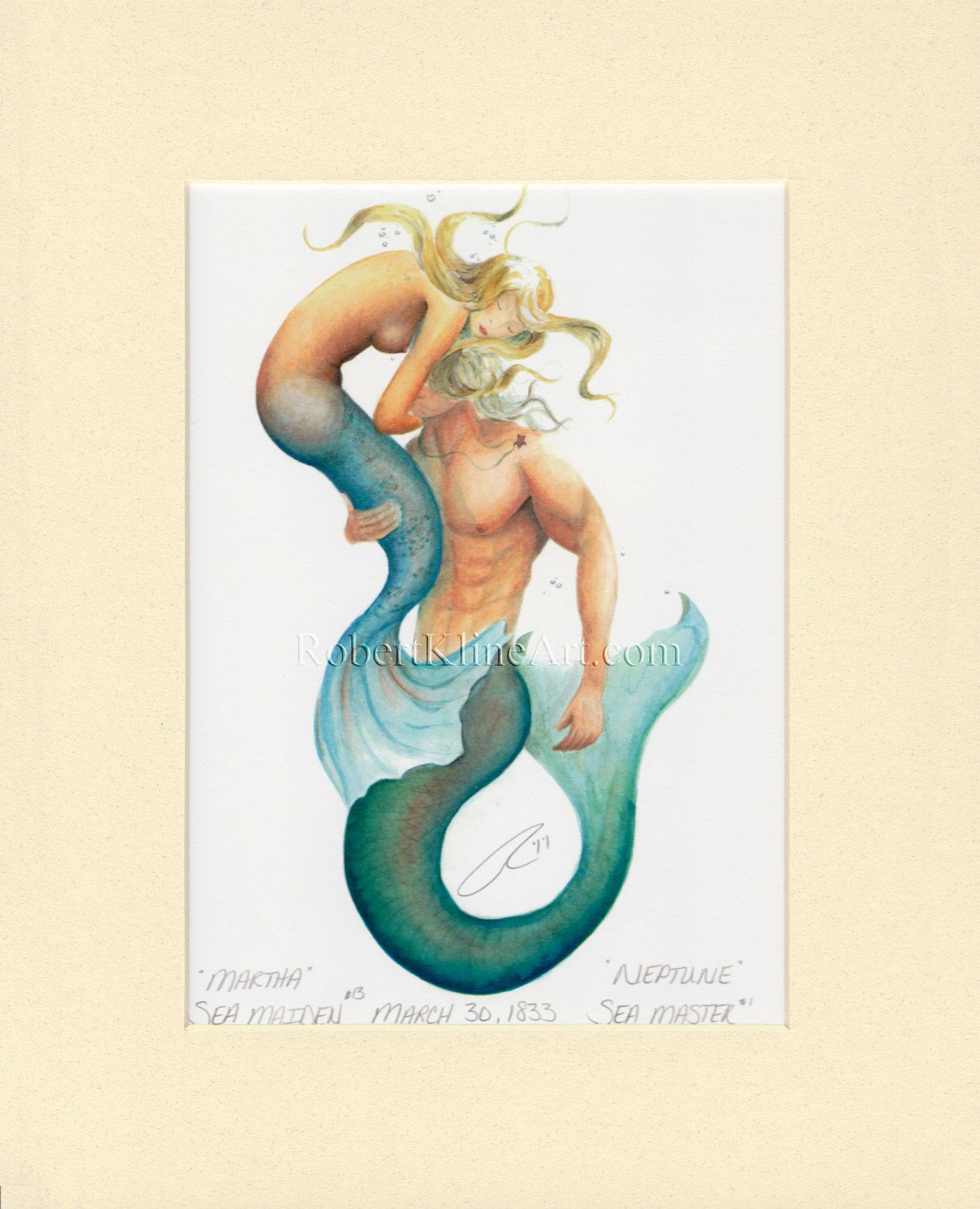 Watercolor Fantasy Art Mermaid Nautical Ocean Painting Tropical Decor Print
