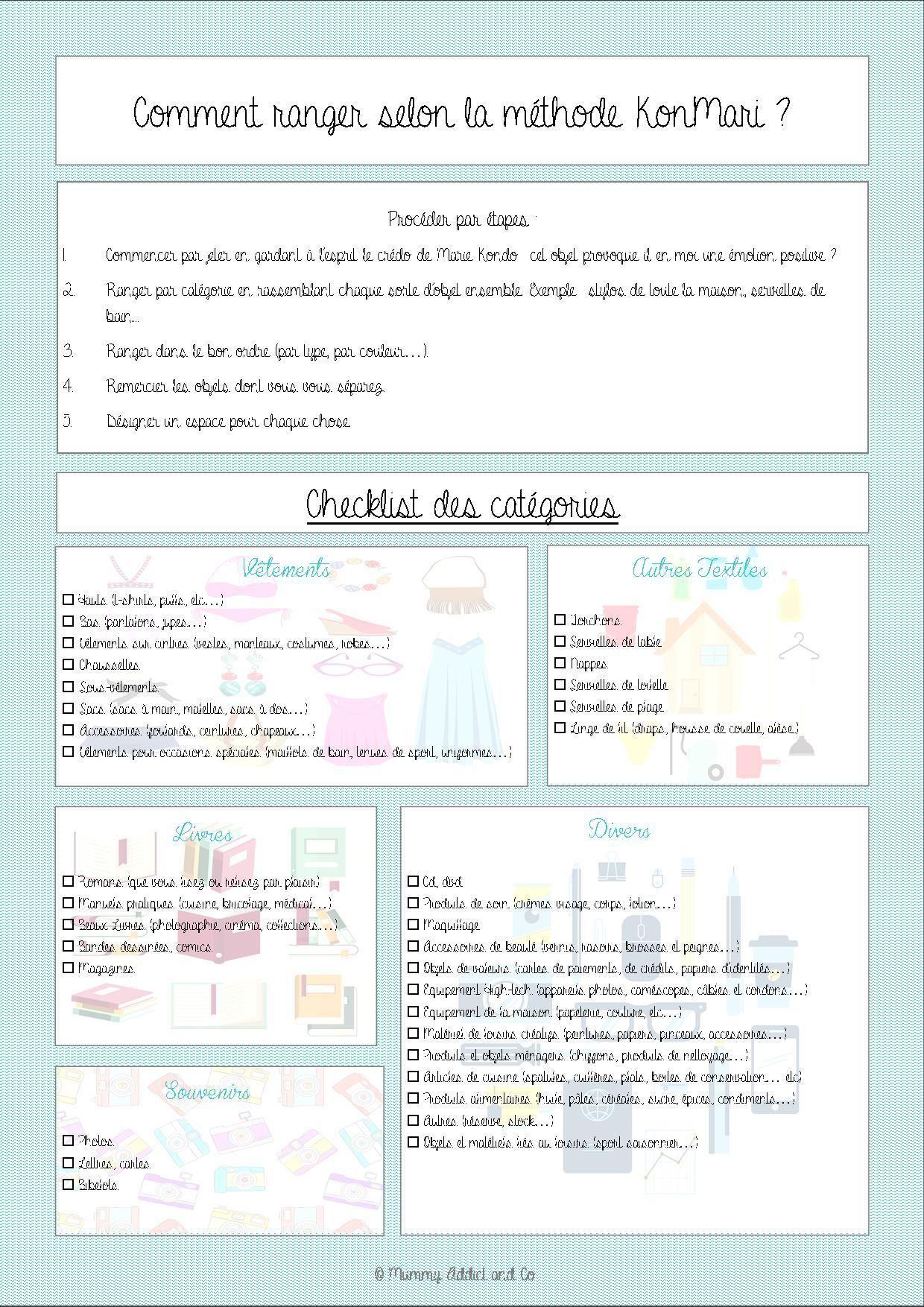 Fiche r capitulative de la m thode kon mari par for Lista de utiles de cocina