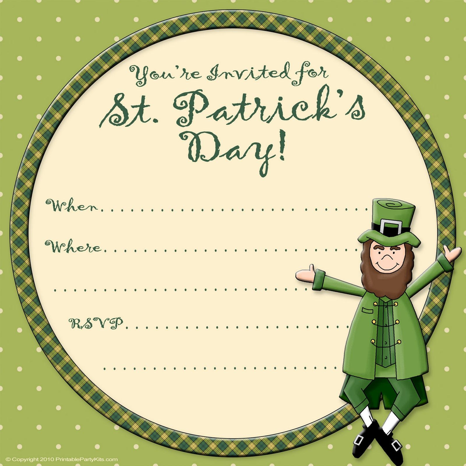 Free Printable Party Invitations: Free St. Patrick\'s Day Invite ...
