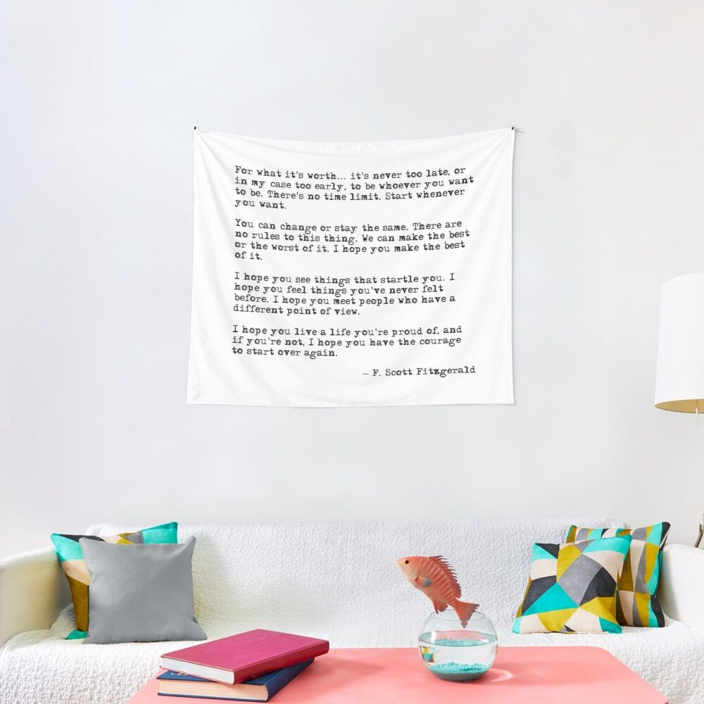 'For what it's worth - F Scott Fitzgerald quote' Tapestry by peggieprints