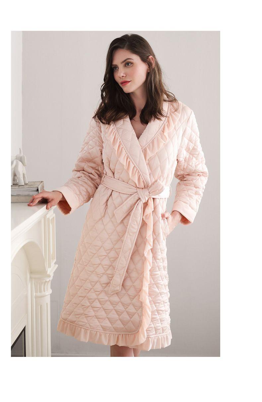 new robe vintage female robes lingerie robe winter thicken bathrobes Luxury  silk surface cotton under layer 5962f5d5f
