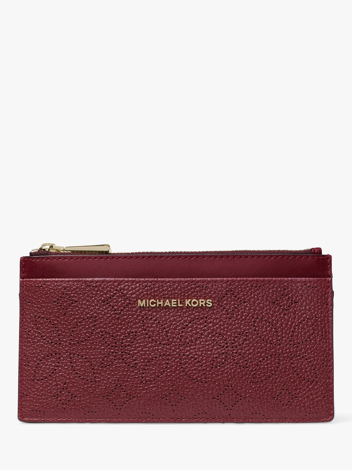 2d8e5183e486 BuyMICHAEL Michael Kors Money Pieces Leather Slim Card Purse, Oxblood  Online at johnlewis.com
