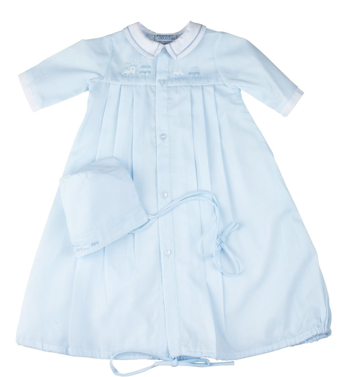 94ccb7e1397 Preemie Train Pleated Take Me Home Gown with Hat