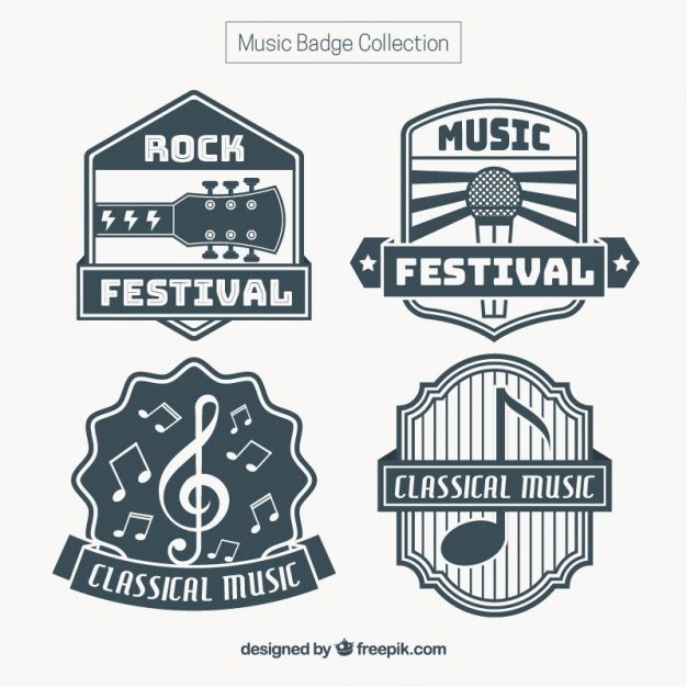 Download Set Of Vintage Music Stickers For Free Music Stickers Vintage Music Music Design