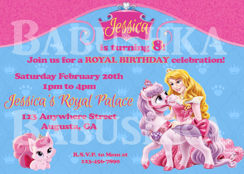 Princess Aurora Palace Pets Birthday Invitation Sleeping Beauty