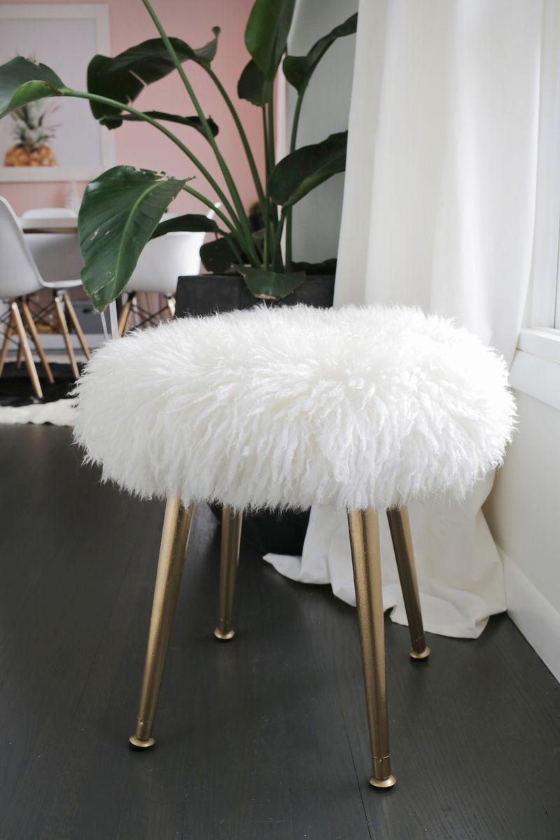 Vanity Chair White Fur Colored Adirondack Chairs Make A Furry Stool With Gold Legs In Minutes Beautiful Mess