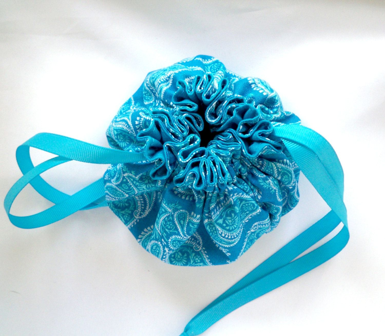 Travel Jewelry Organizer Small Drawstring Bag Turquoise Paisley