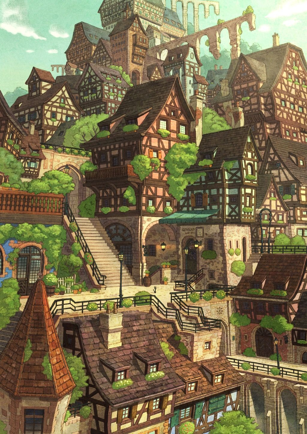 Anime Manga Background Old Victorian Medieval Village Arte Ambiental Arte Conceptual Fantasy Town I 2021 Illustrasjon Maleri Inspirasjon Artister