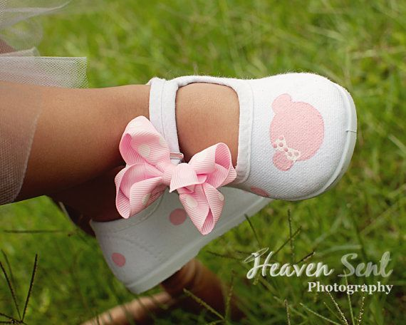 Minnie Mouse Shoes - light pink minnie mouse inspired design hand painted on white maryjane shoes w- hairclip bows for girls baby toddler on Etsy, $28.50