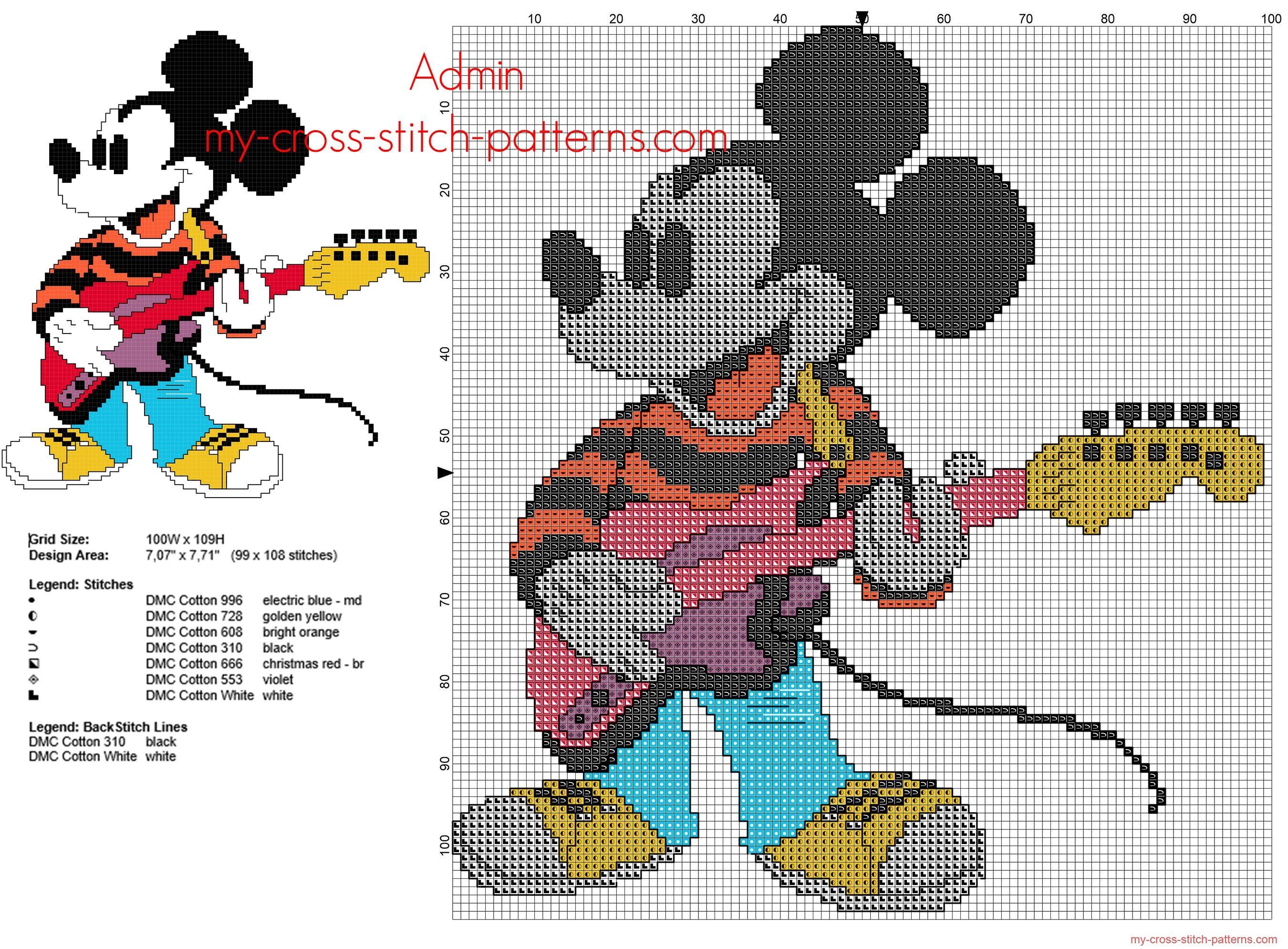 Mickey Mouse Disney Joue De La Guitare Grille Point De