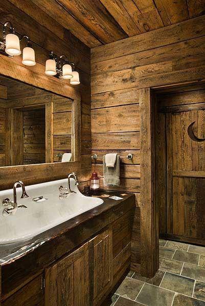 Rustic Bathroom Featuring Canterbury Bath Light Collection Found On Www 4rusticlighting Com Rustic Bathrooms Cabin Bathrooms Log Homes