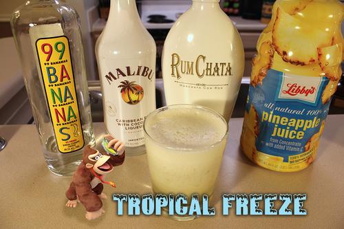 Ingredients: .75 oz 99 Bananas, .75 oz Malibu Rum with Coconut, .75 oz RumChata, 4 oz Pineapple Juice, Ice.