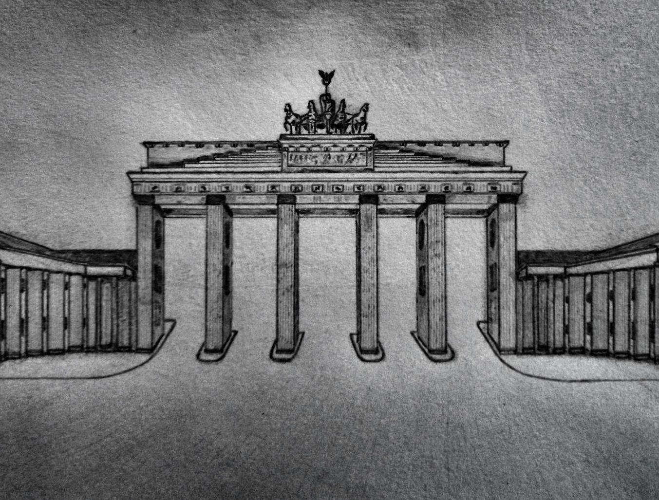 Brandenburg Gate Pencil Drawing Art Outfits Sommer Indie Berlin