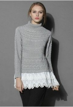 Lovely Lace Hem Sweater in Grey - Tops - Retro, Indie and Unique Fashion