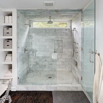 Master Bath Features Walk In Shower Accented With White Marble Subway Tile Surround Framing Window