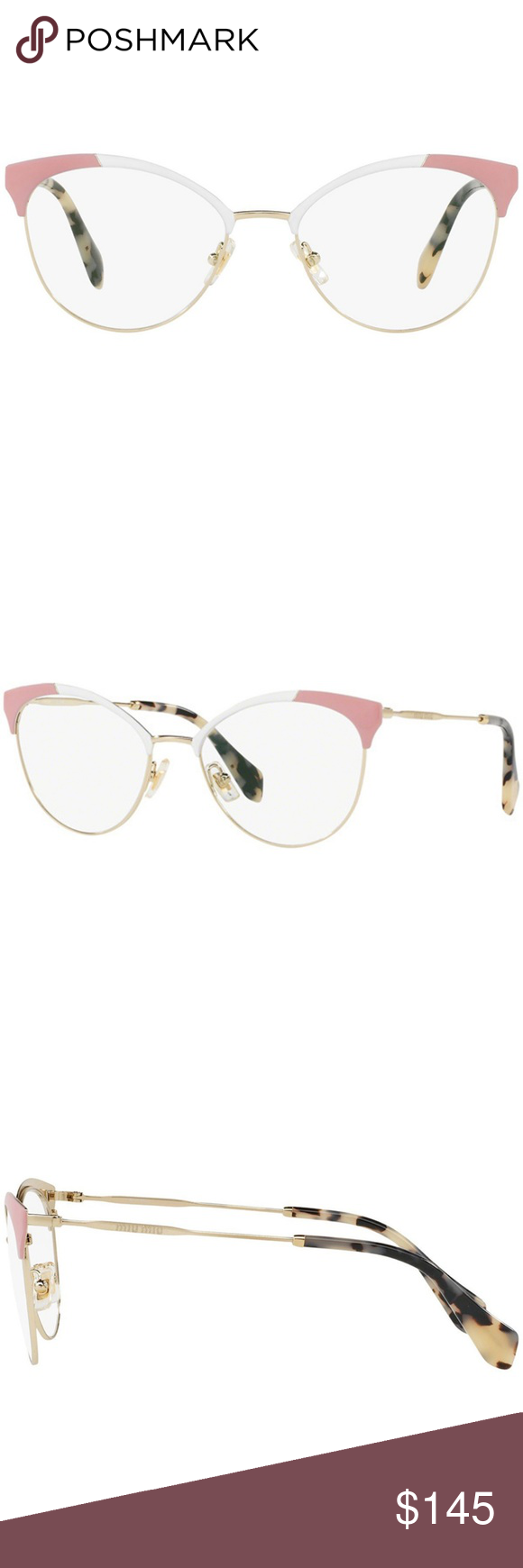 2863942ac6b3 Miu Miu Sunglasses Pale Gold White Pink Miu Miu Cat Eye Style Eyeglasses  Women Having Pale Gold White Pink Color Metal Frame with Demo Lens.