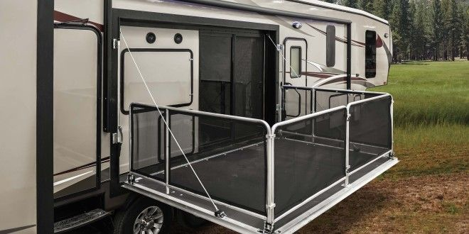 Heartland Introduces New Gateway Side Patio Toy Hauler Travel Trailer Porch For Camper