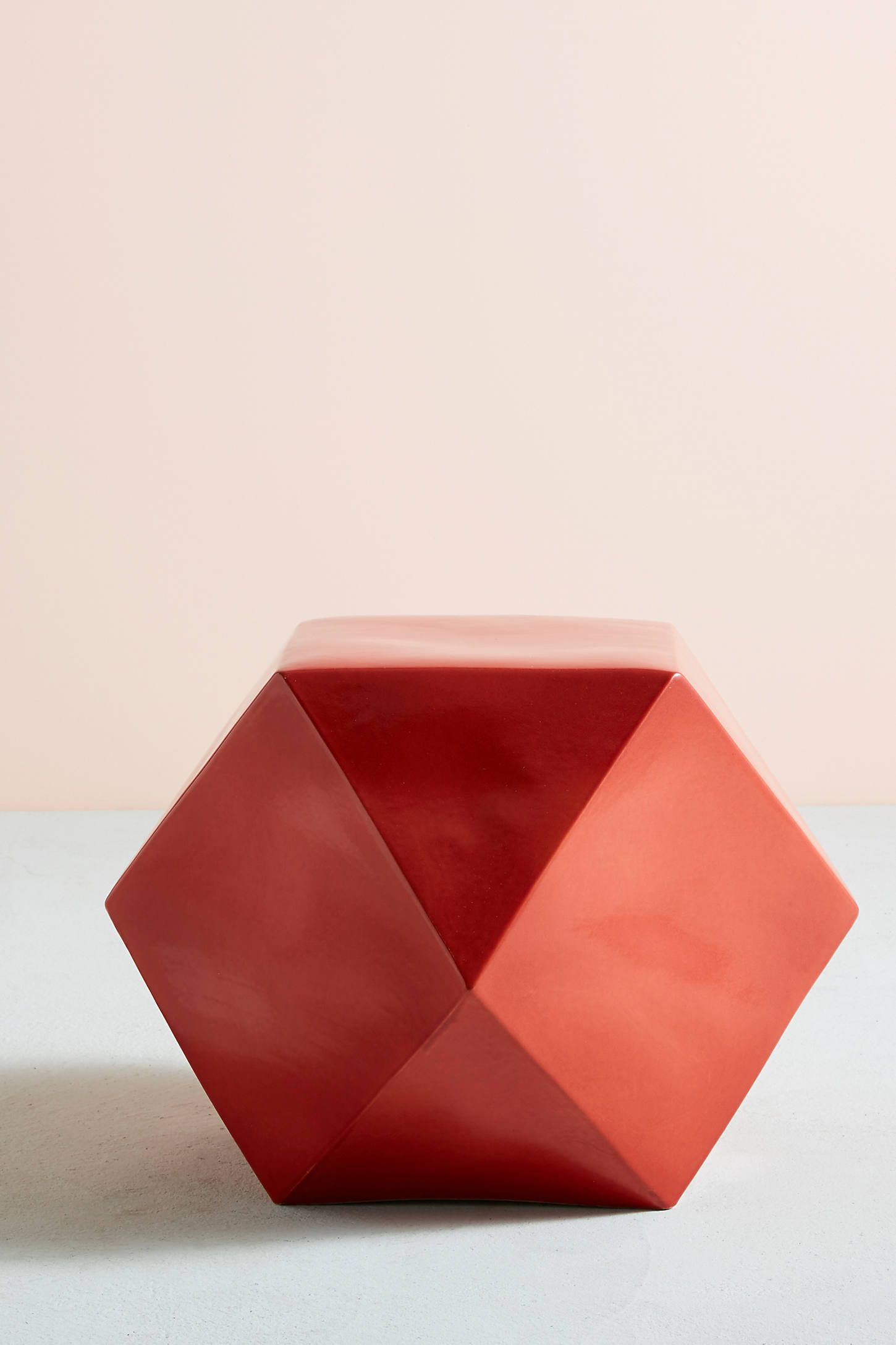 Sculptural Red Geometric Side Table Summer Home Decor Side Table Decor