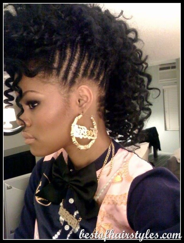 Braided Mohawk With Loose Curls Hair Styles Womens Hairstyles Natural Hair Styles