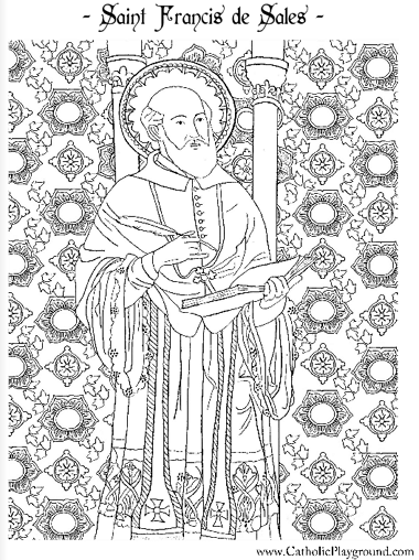 saint francis de sales coloring page feast day is january 24th - St Patrick Coloring Page Catholic
