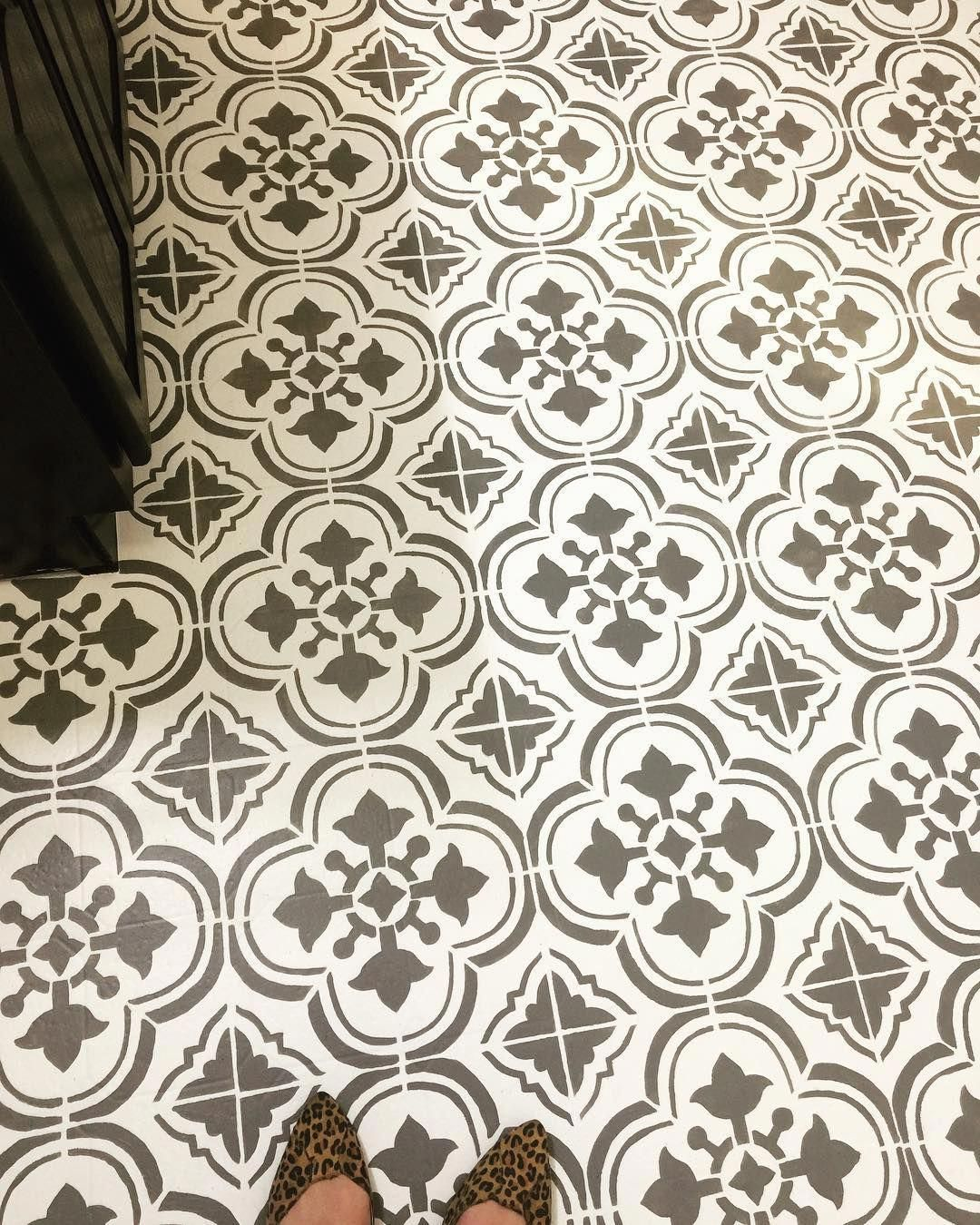 Painted Stenciled Floors Gray And White Faux Ceramic Tiles Budget Friendly Bathroom Ideas Santa Ana Tile Stencil Tile Stencil Flooring Stencils Wall
