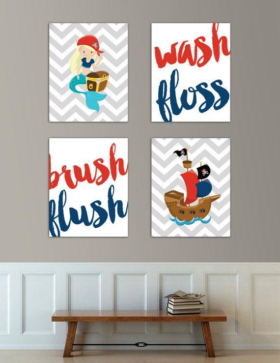 Kids Bathroom Decor- Kids bathroom Wall art/bathroom manners/ kids wall art/  nursery wall decor/wash your hands/ brush your teeth