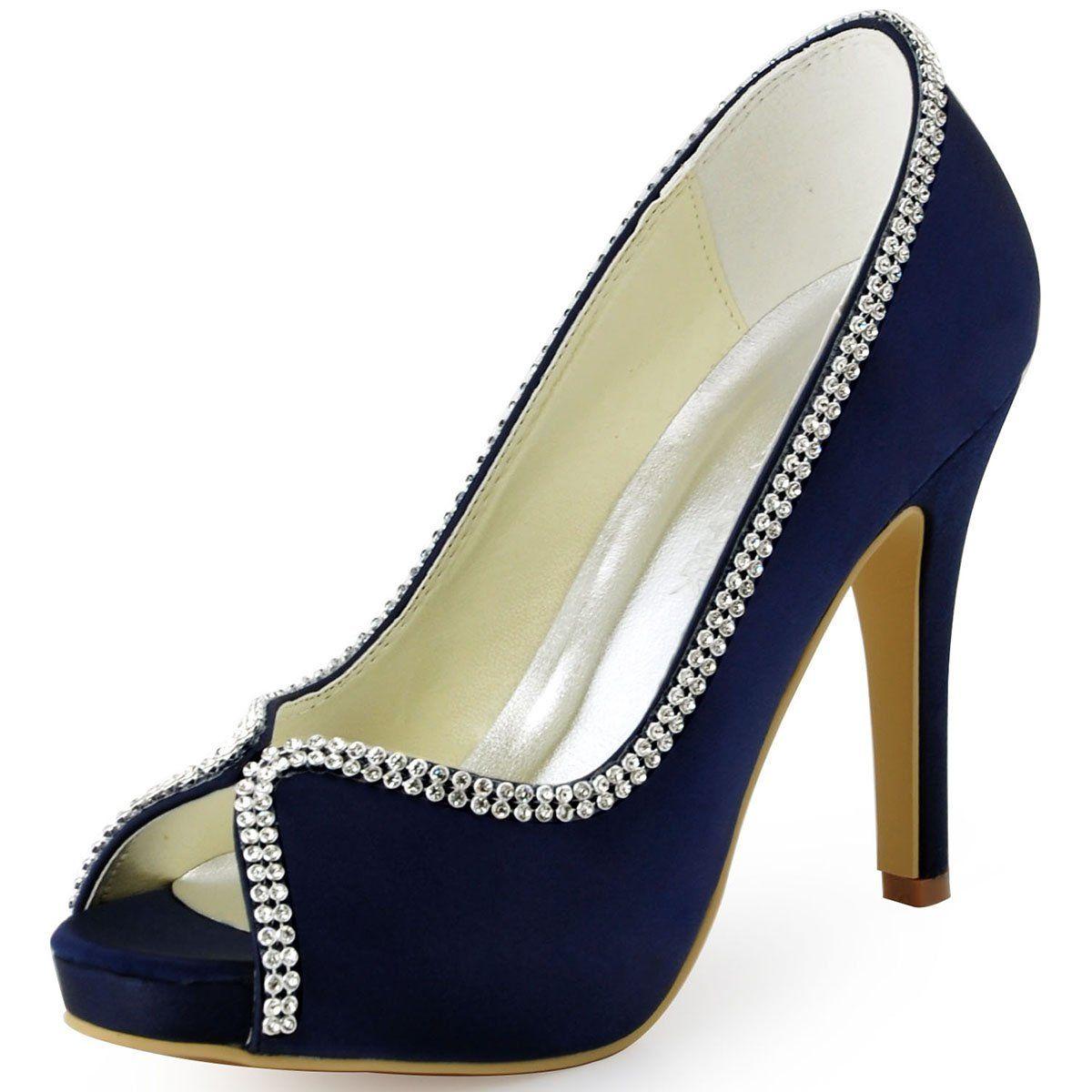 ElegantPark EP11083 Women s Evening Prom Platform Satin Prom High Heel  Wedding Bridal Shoes Navy Blue US 6 45930a0e4508