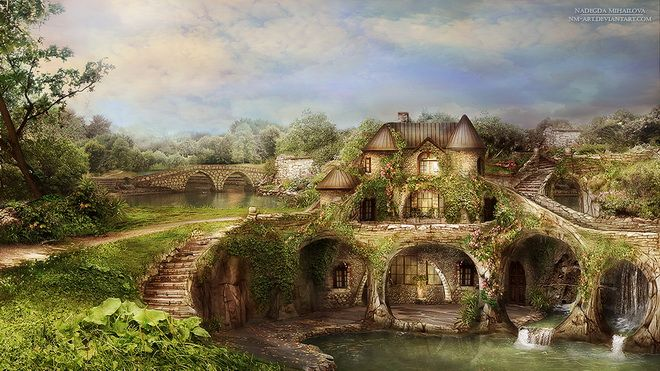 fantasy landscape the lake house russian artist nadegda mihailova - Beautiful Landscapes For Houses