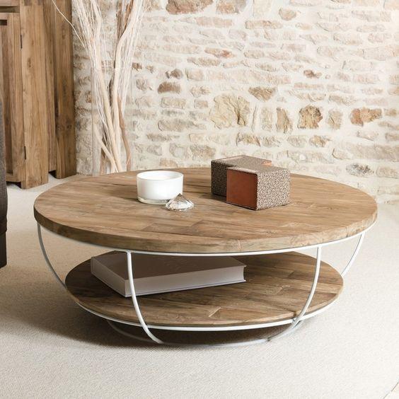 Table Basse Ronde En Bois Et Metal Blanc A Double Plateau Pour La